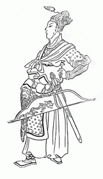 Medieval Chinese drawing of young Batu Khan (14th century).