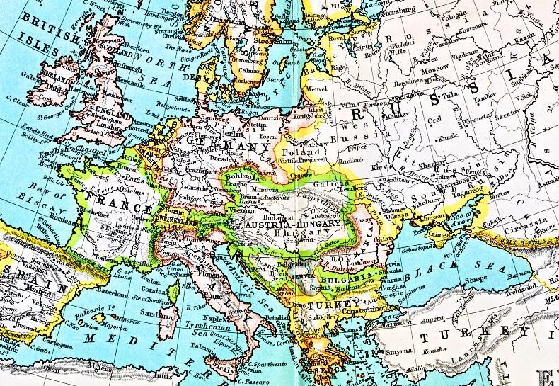 Map Europe 1900 Neterlands