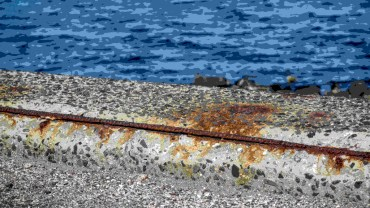 Concrete corrosion on seawall