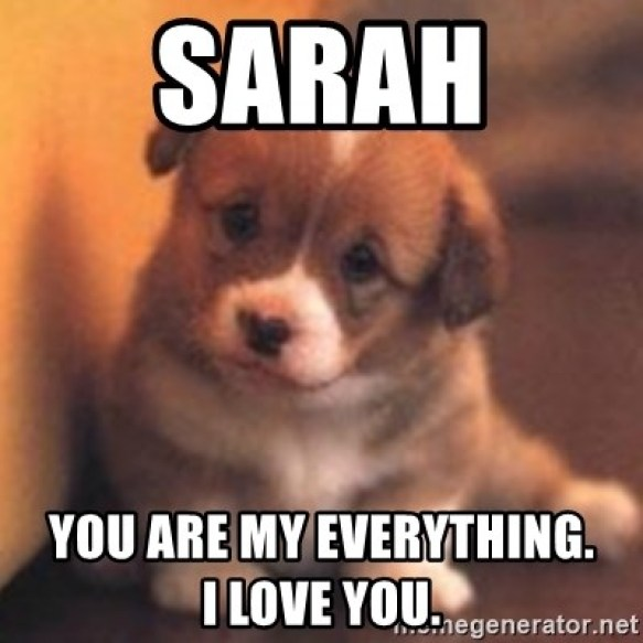 SARAH You are my everything. I LOVE YOU. - cute puppy | Meme Generator