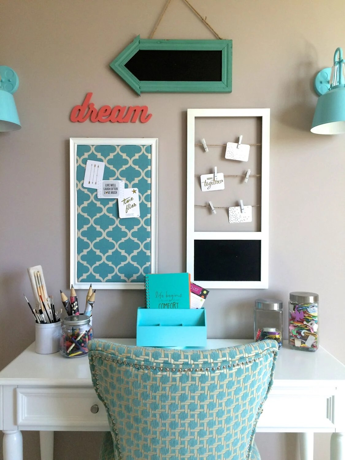 Turquoise Teen room and organized desk/craft table on Teen Decor  id=21846