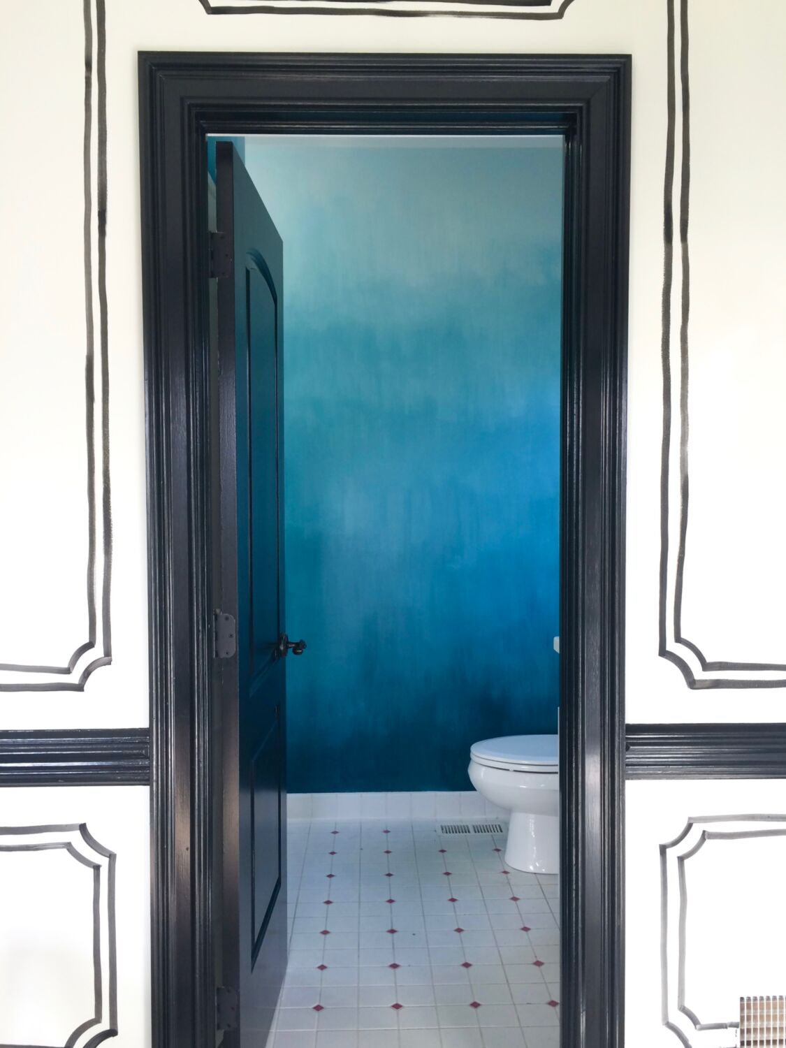 Operation Ombre Turquoise Dip Dyed Painted Wall Treatment