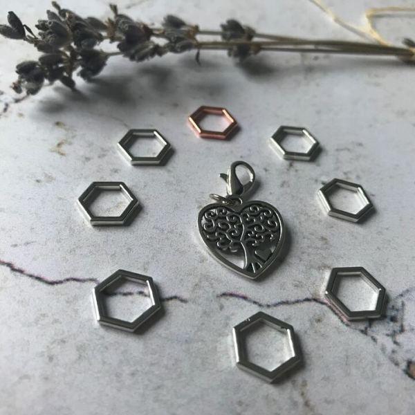 anneaux cœur argenté