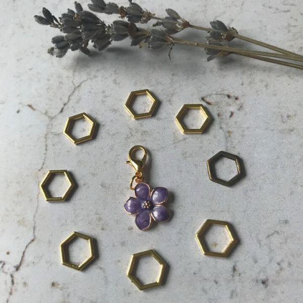 Lot anneaux marqueurs fleur violette