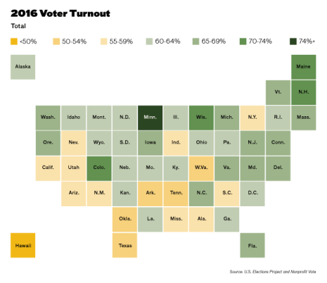 Voter turnout by state in the 2016 election