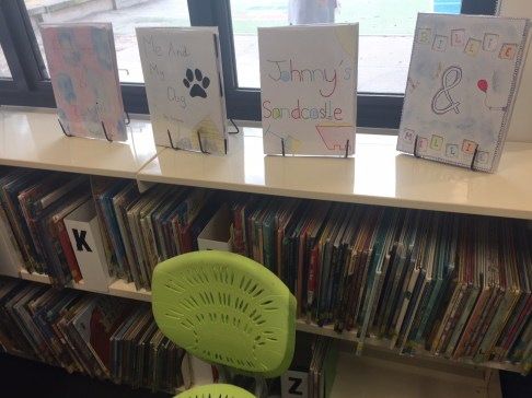 An image of picture books made by children at a primary school.