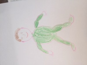 Drawing of a baby - green jumpsuit