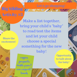Activities to prepare big brothers and sisters - Let's go shopping!