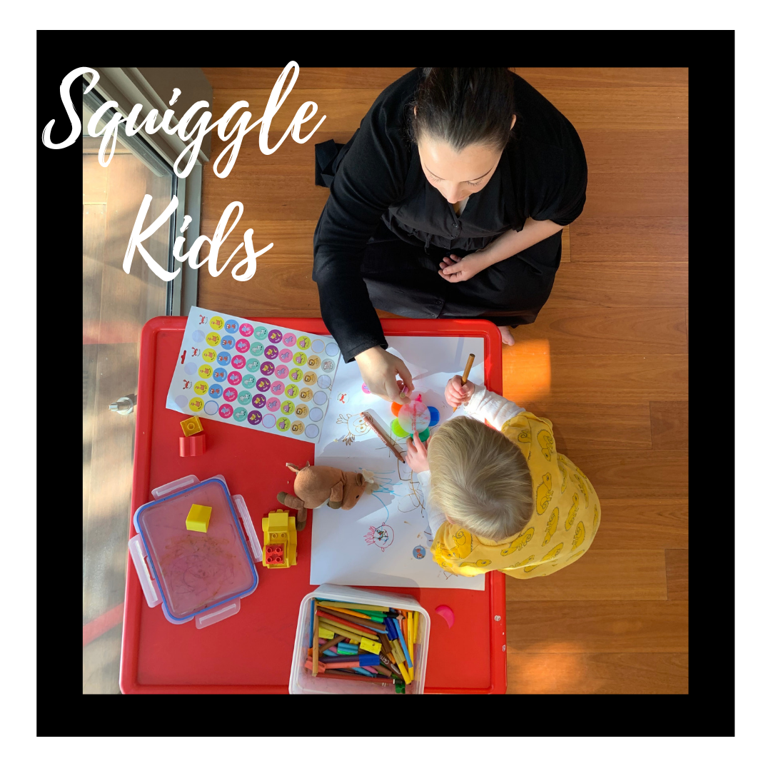 Picture of an adult and child drawing together at a table with the words Squiggle Kids on the photograph