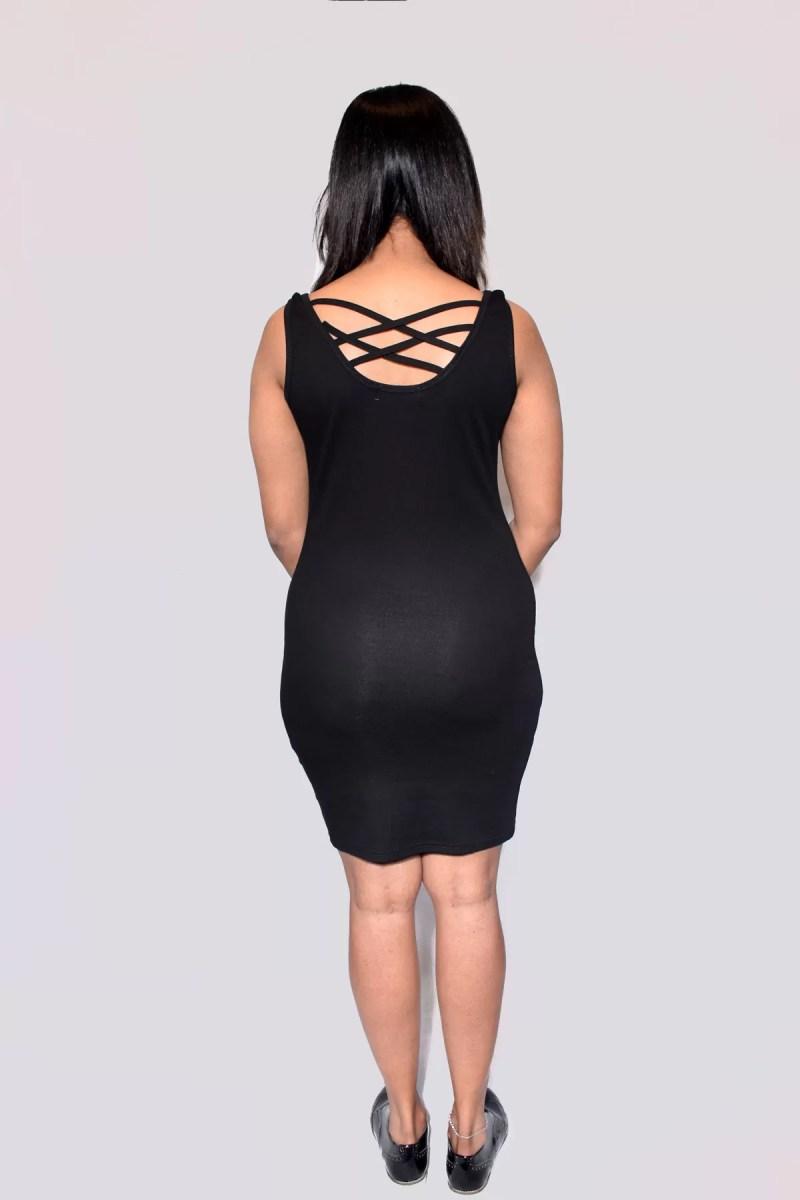 zwarte mouwloze jurk