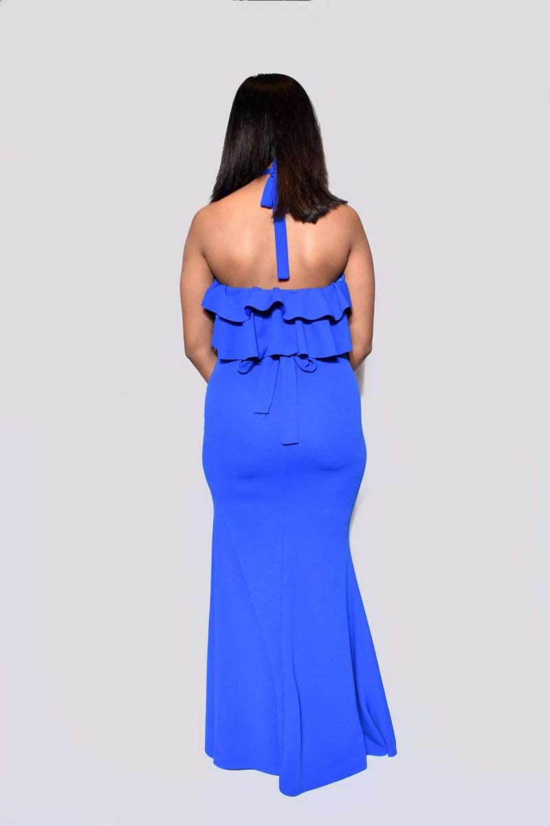 blauw dames jurk