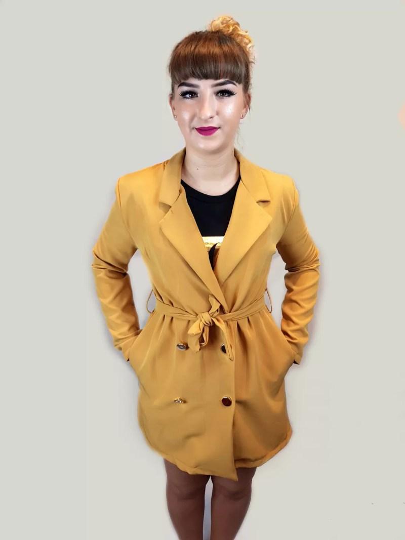 oker geel korte jurk