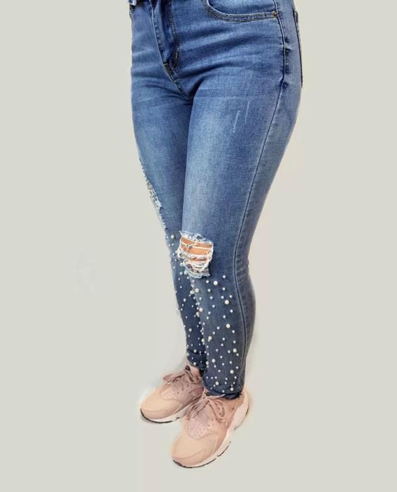 spijker broek dames met parels