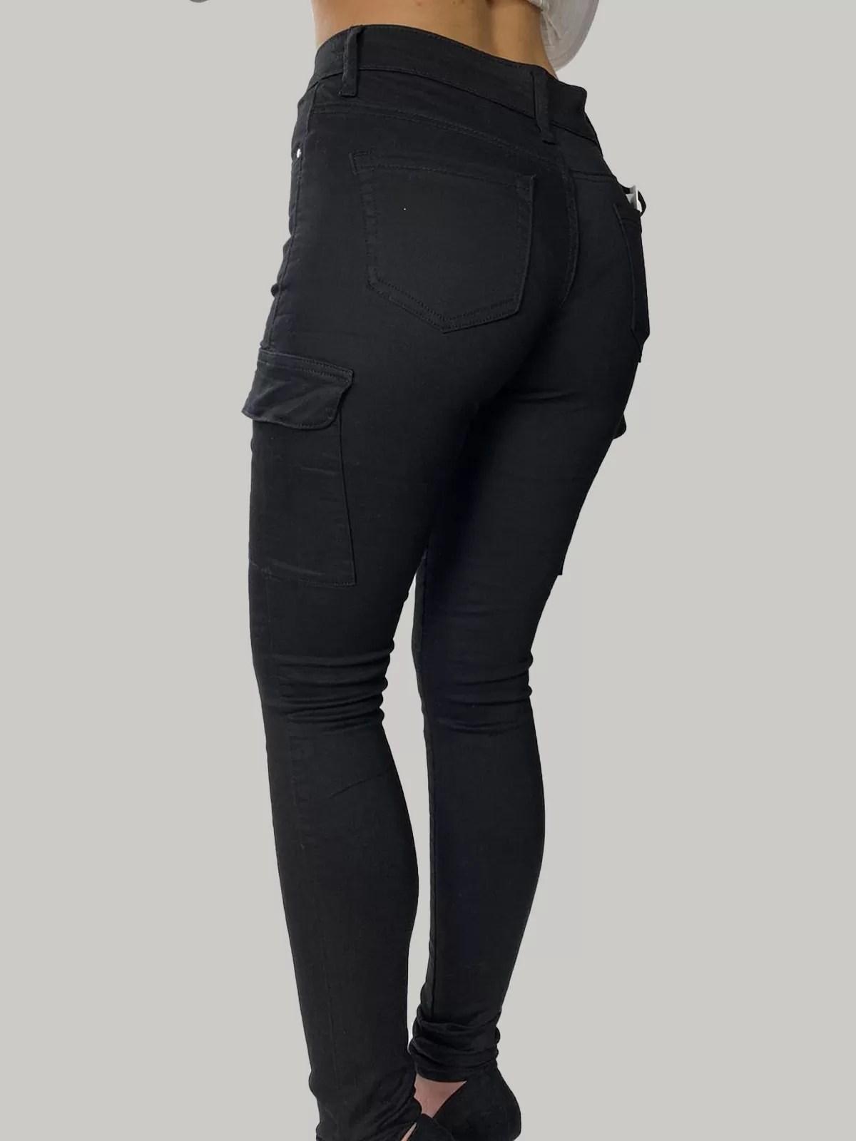 Wonderbaar Zwarte Stretch Broek Met Scheuren Voor Dames - Me Mode TS-25