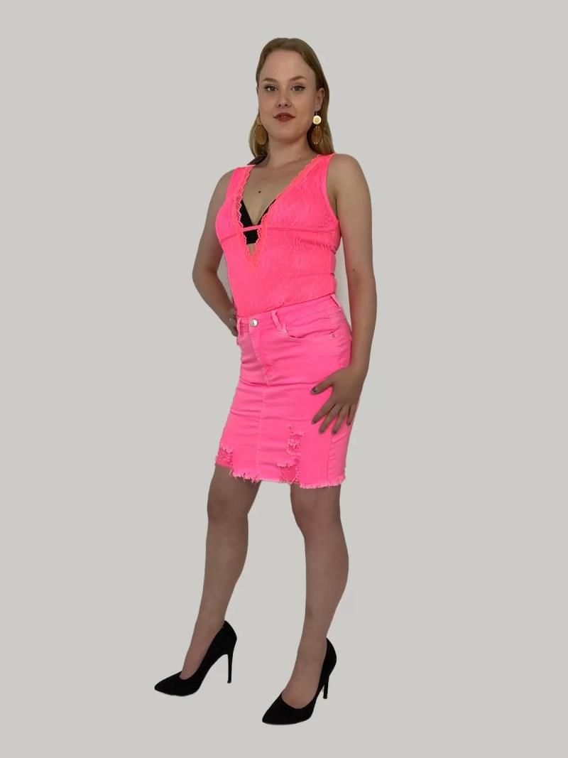 Stretch-Spijkerrok-roze