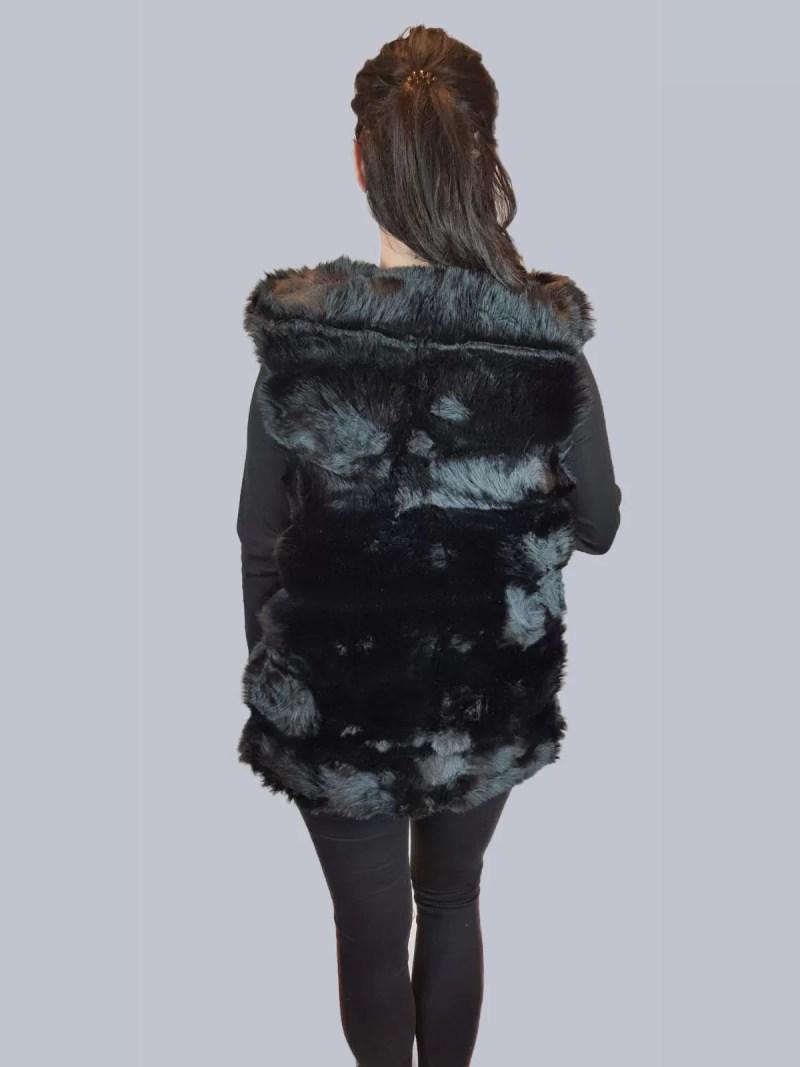 zwarte bont bodywarmer