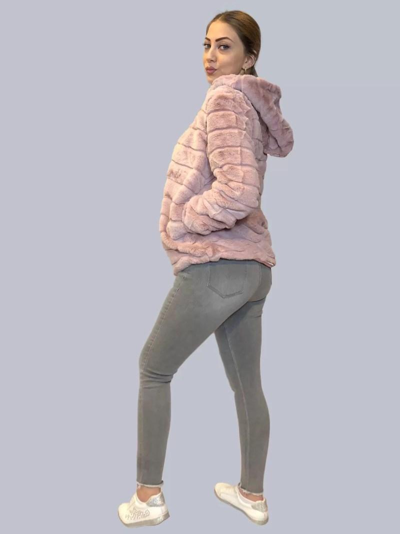 roze korte bontjas
