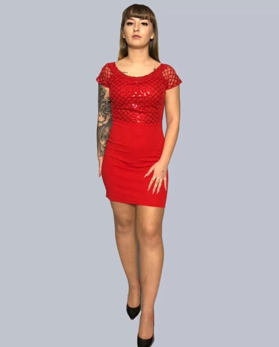 kante jurk met korte mouwen