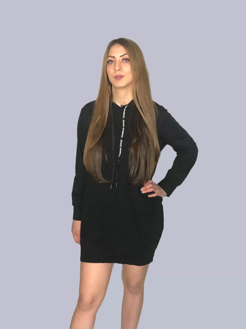 lange hoodie zwart