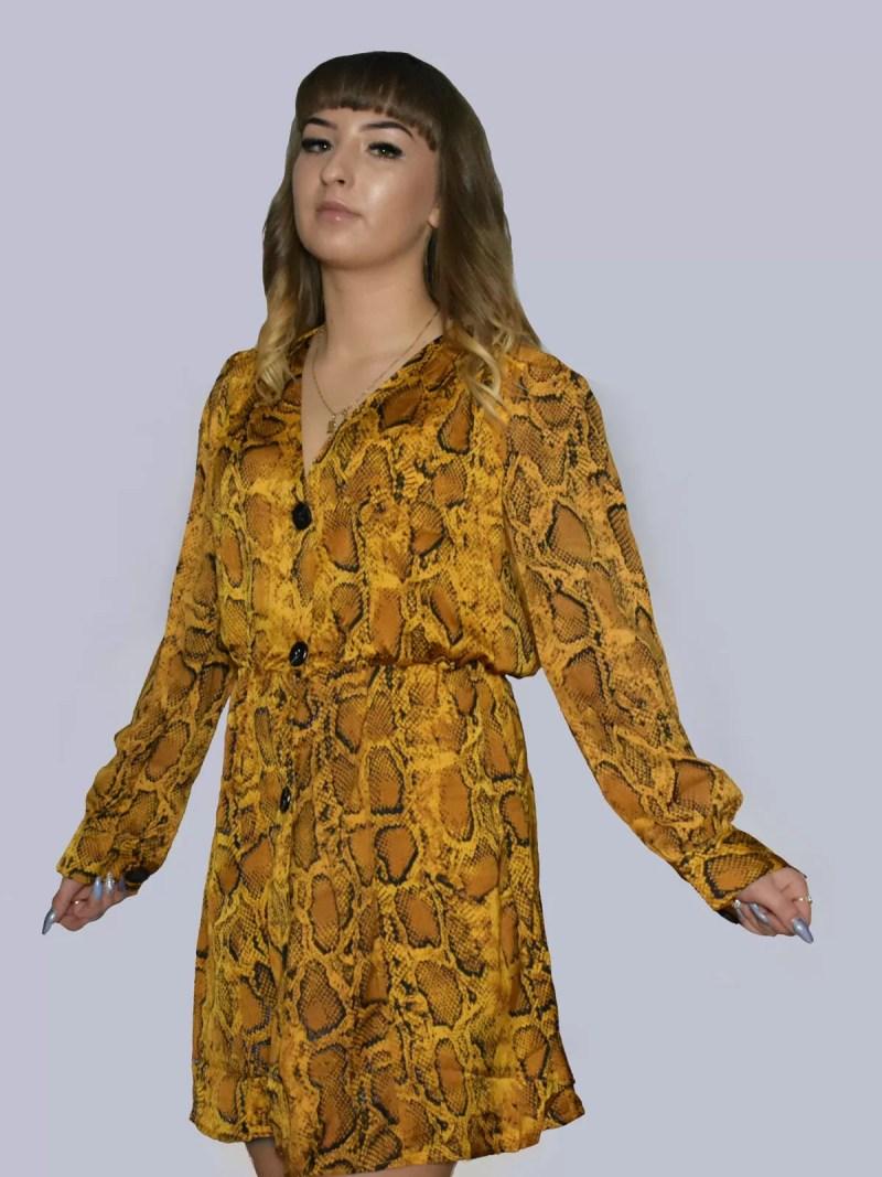 snake ruffle dress