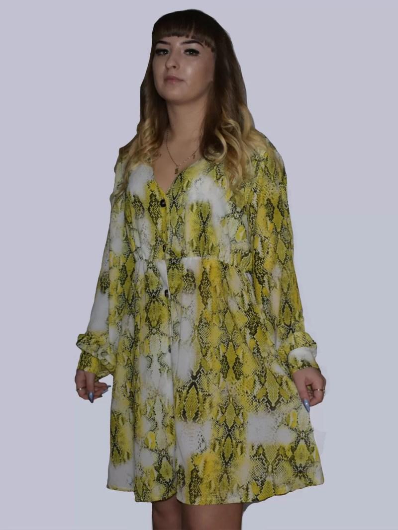 groen snake ruffle dress