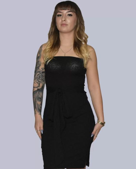 doorschijnende strapless jurk