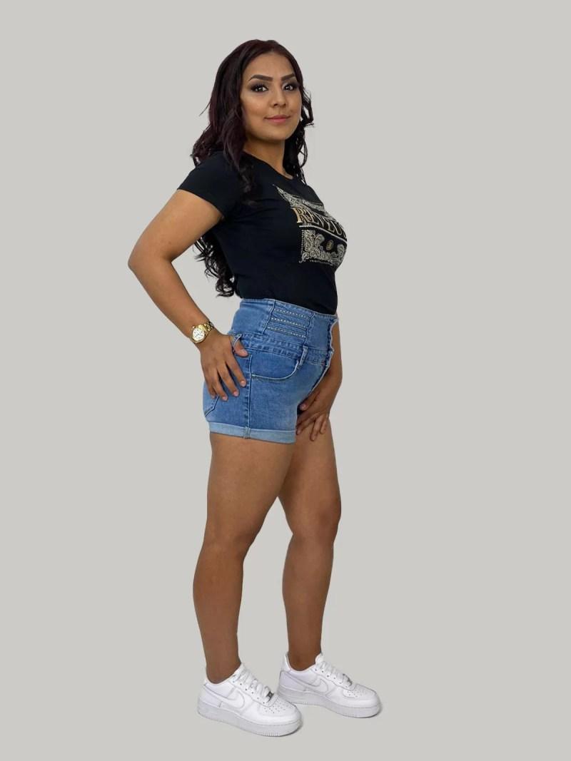 Korte-spijkerbroek-hoge-model-dames