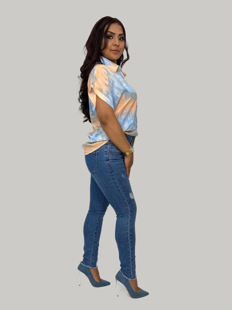 blauw-orange-blouse