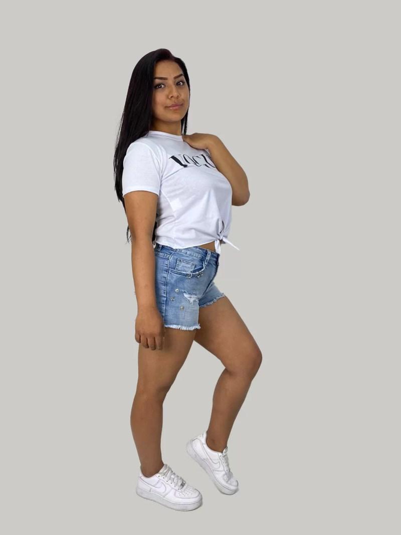 Korte-spijkerbroek