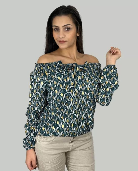 Gedessineerde-Blouse-Met-Strik