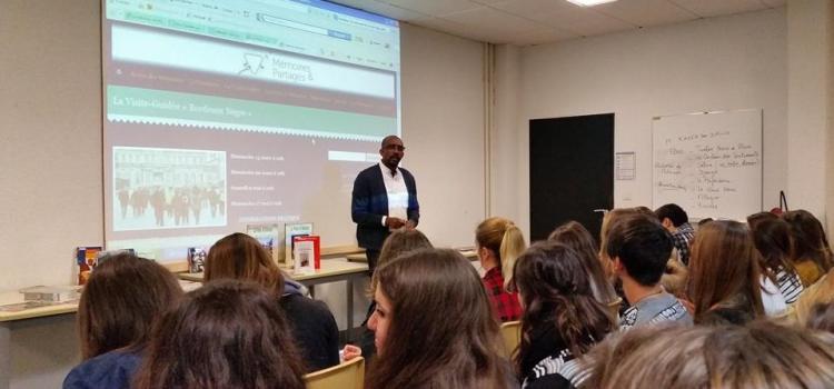 ECOLE DES MÉMOIRES- Rencontre au Lycée Max Linder de Libourne: Projet d'établissement l'esclavage à travers l'espace et le temps