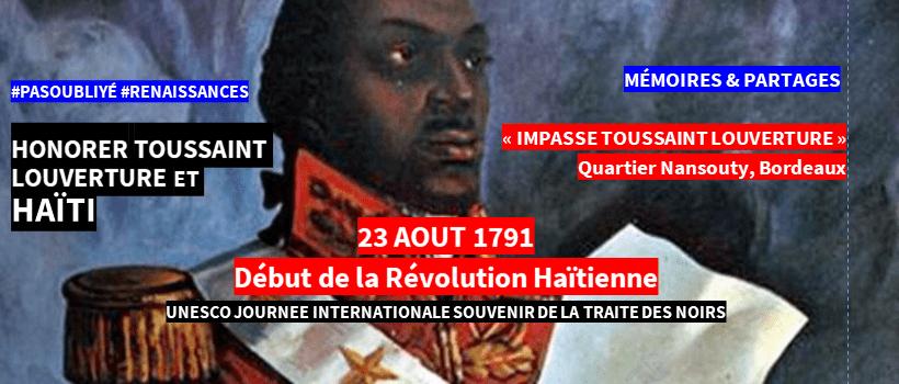 23 AOUT – Journée des révolutionnaires Haïtiens sur «l'impasse Toussaint Louverture» à Bordeaux