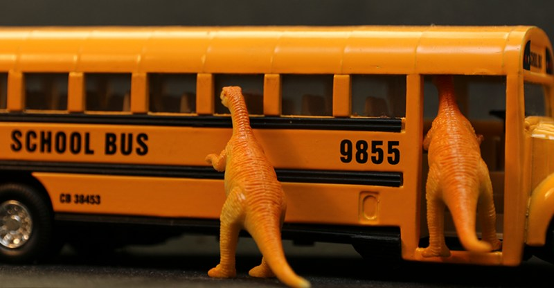 Featured Image Artwork: Dinosaurs Attacks School Bus By Toni Bennett