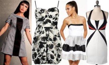black white colorblock date dresses