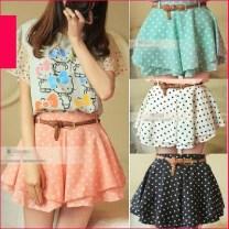 New-Mini-Skirt-Shorts-Pants-Belt-Elastic-Waist-Pleated-Polka-Dot-Chiffon-Skirt