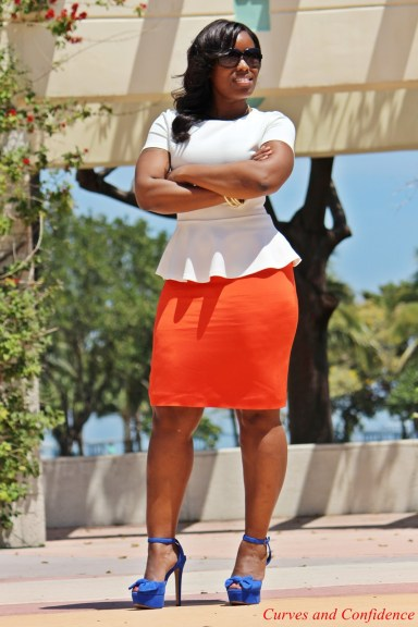 office outfit, curvy confidence, forever 21 peplum top, thrifted chic outfit, what to wear to the office, how to dress for work, orange pencil skirt, zipper back peplum top