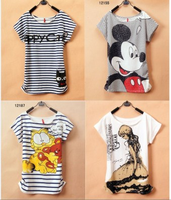 2013-New-T-Shirt-Women-tees-women-type-Loose-T-shirts-Short-Sleeve-Free-Shipping-Women