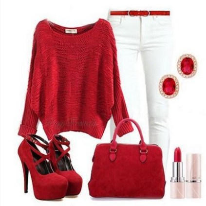 Red-Outfit-Sweater-and-Pumps