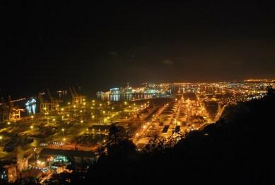 Night panorama of port of Barcelona