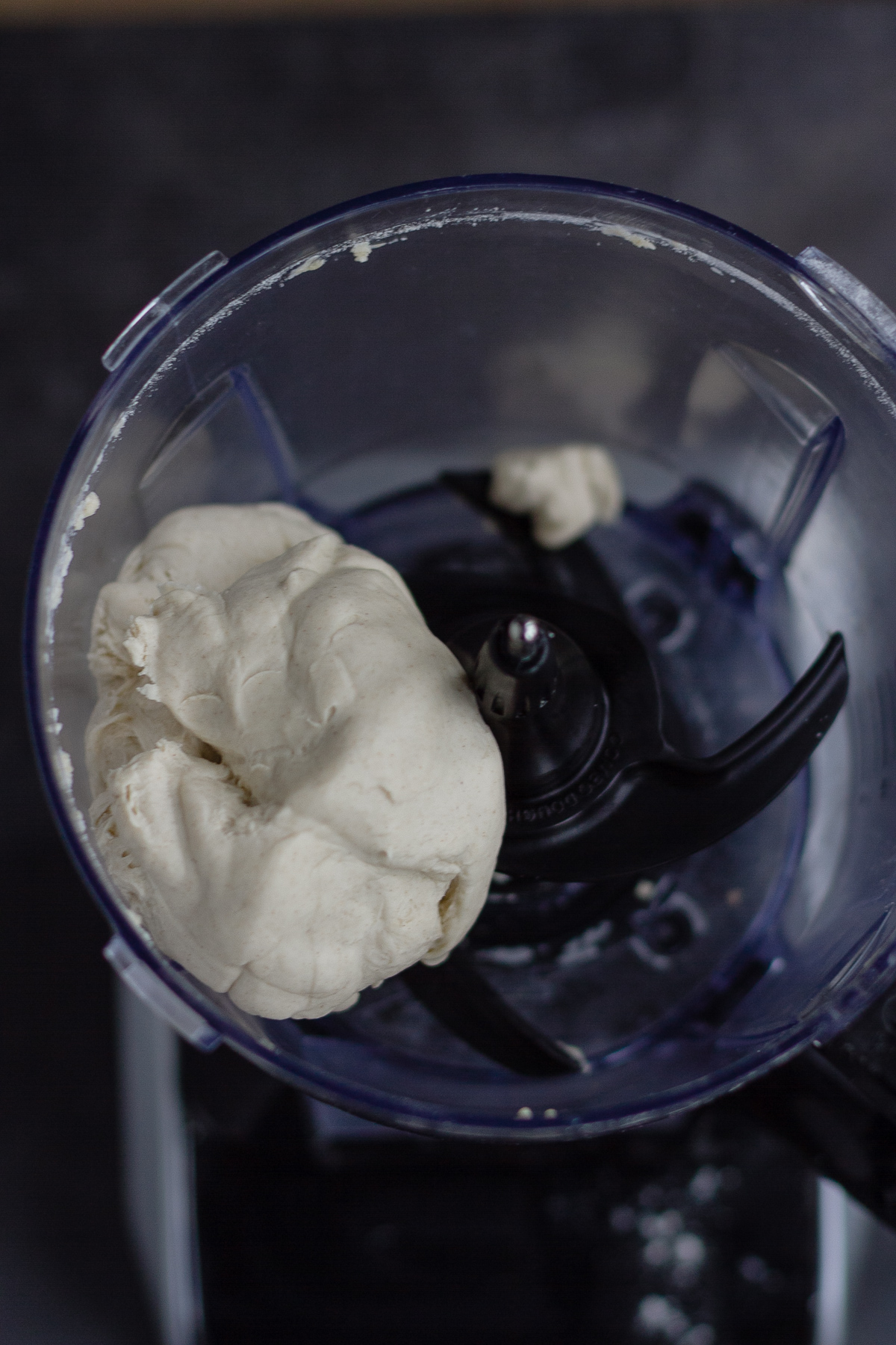 formed dough in food processor, before kneading