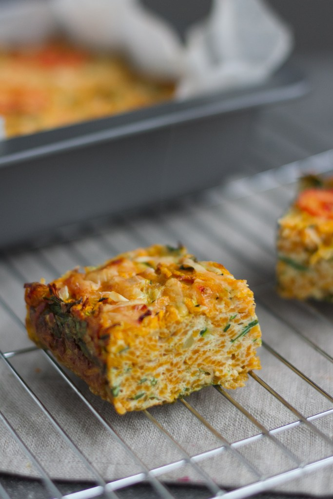 healthy egg breakfast bake with courgette, spinach and sweet potato