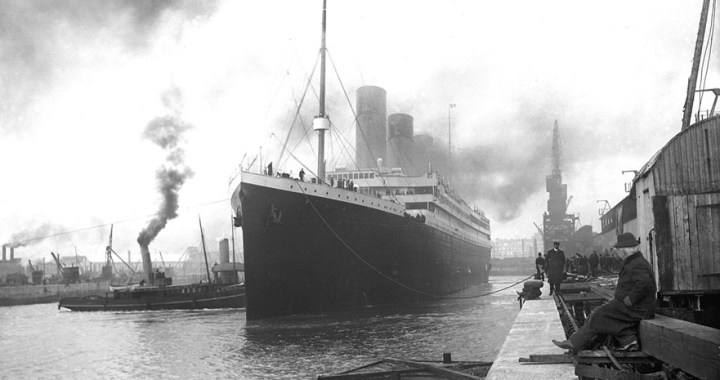 RMS Titanic – The British passenger liner departing Berth 44 in Southampton