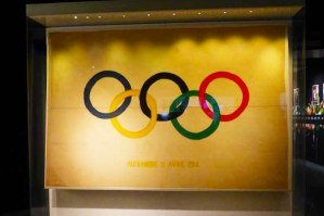 The first Olympic flag display in Lausanne