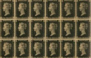 Penny Black – The first world postal stamp ever issued is being exhibited in London