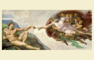 The Creation of Adam – The first man and God reaching toward one another in the Vatican City