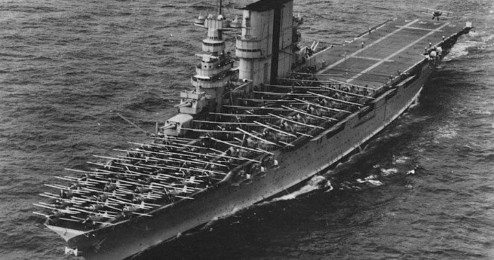 USS Saratoga – The aircraft carrier rests in Bikini Atoll