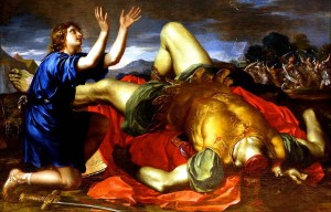 David And Goliath – The young shepherd kills the Philistine giant in the Valley of Elah