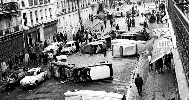 May 68 – The street with overturned cars in Paris