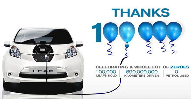 Nissan llega a las 100 mil unidades vendidas del LEAF en el mundo