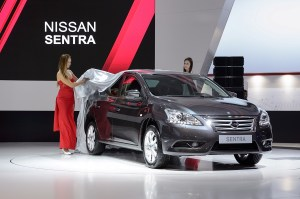 New Nissan Pathfinder, Sentra power into Nissan stand at Moscow